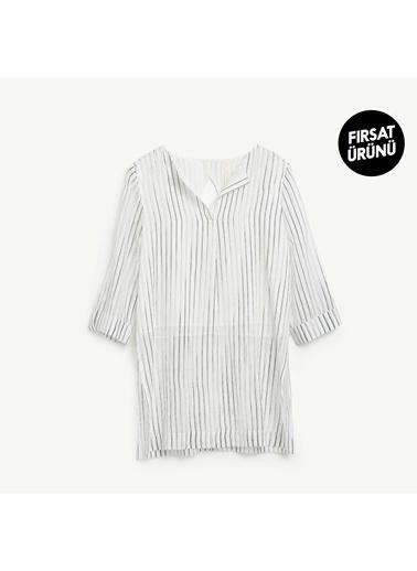 Yargıcı Kadın Uzun Yirtmaç Detayli Bluz 9KKGM6140X Siyah